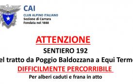 CAI Sez Carrara Apuane - Difficoltà nel percorrere il sentiero 192